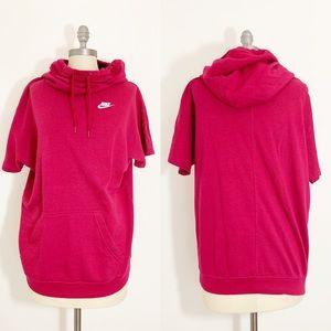 Pink Nike Oversized Womens Sweatshirt funnel neck